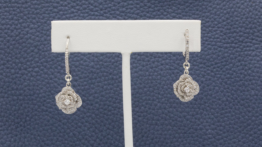 micro pave rosebud danglers {floral collection}