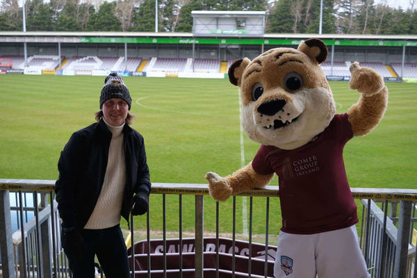 Janis Vitols with Terry the tiger at Eamonn Deacy Park with Galway United FC