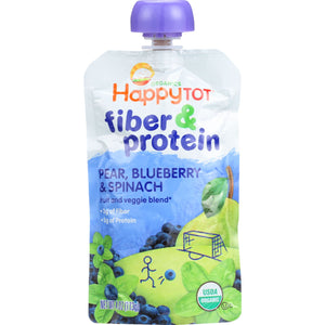 Happy Tot Toddler Food - Fiber and Protein - Stage 4 - Pear Blueberry and Spinach Case of 16