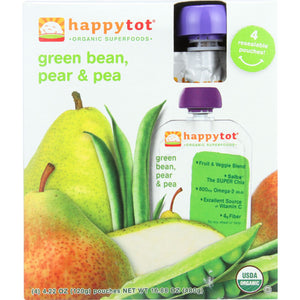 Happy Tot Toddler Food - Stage 4 - Green Bean Pear and Pea - Case of 16