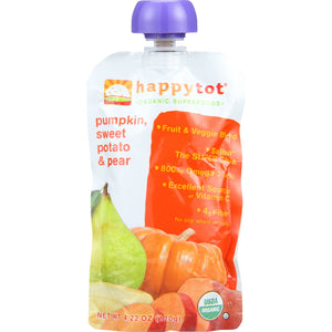 Happy Tot Toddler Food - Organic - Pumpkin Sweet Potato and Pear  - Case of 16