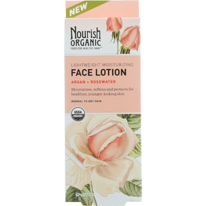 Nourish Facial Lotion - Organic - Lightweight Moisturizing - Argan and Rosewater - 1.7 oz