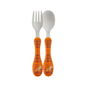 Stainless Steel Cutlery Fork and Spoon Utensil Set, Wildlife Tiger by Lassig
