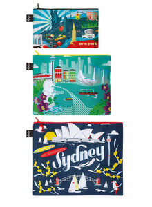 Urban New York, Singapore, Sydney Zip Pockets by LOQI