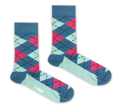 Blue Argyle Socks by Bryt
