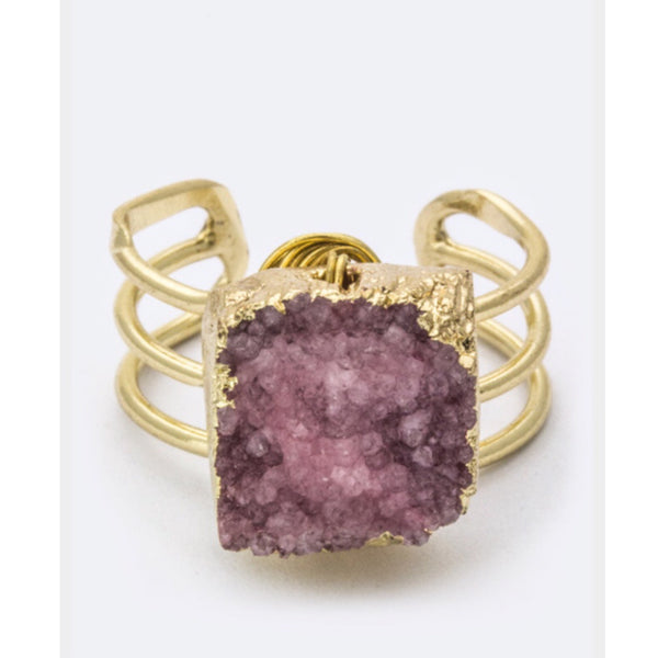 Pink Druzy Cubed Ring