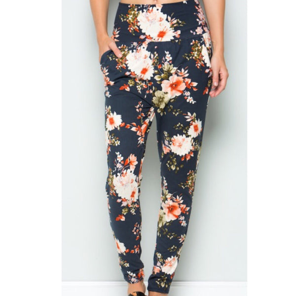 Navy Flower Joggers