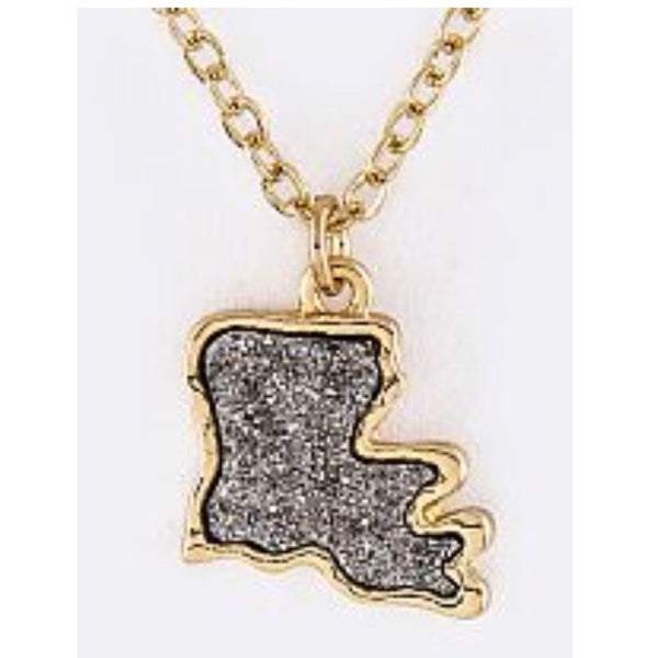 Louisiana Map Druzy Necklace