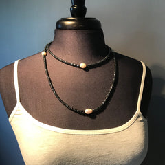 Hematite and Pearl Stretch Necklace