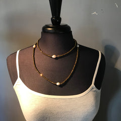 Bronze and Pearl Beaded Stretch Necklace