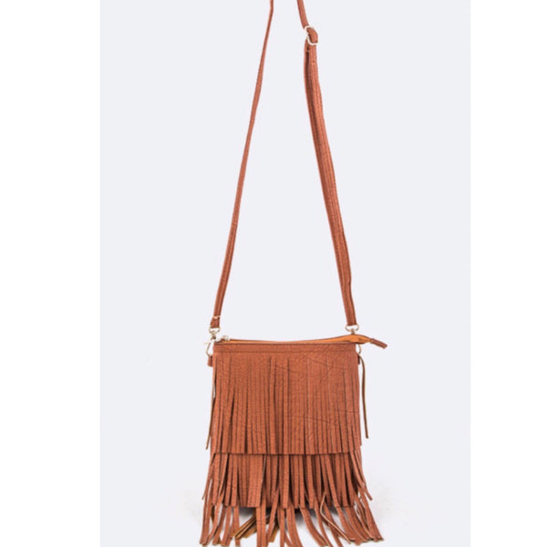 Tan Fringe Cross Body Purse