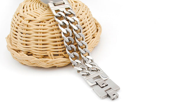 Stainless Steel Cross Bible Scripture Mens Bracelet