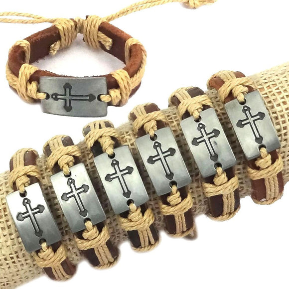 DIY Cross Leather Woven Bracelet 6-Pack