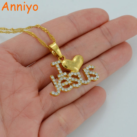Anniyo Necklace for Women/Girl, Christian Heart Pendant With Rhinestone Jewelry