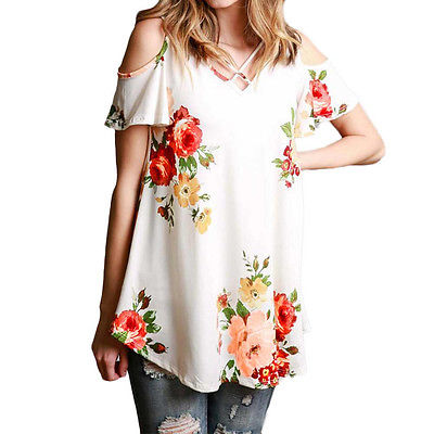 Off Shoulder Floral Shirt