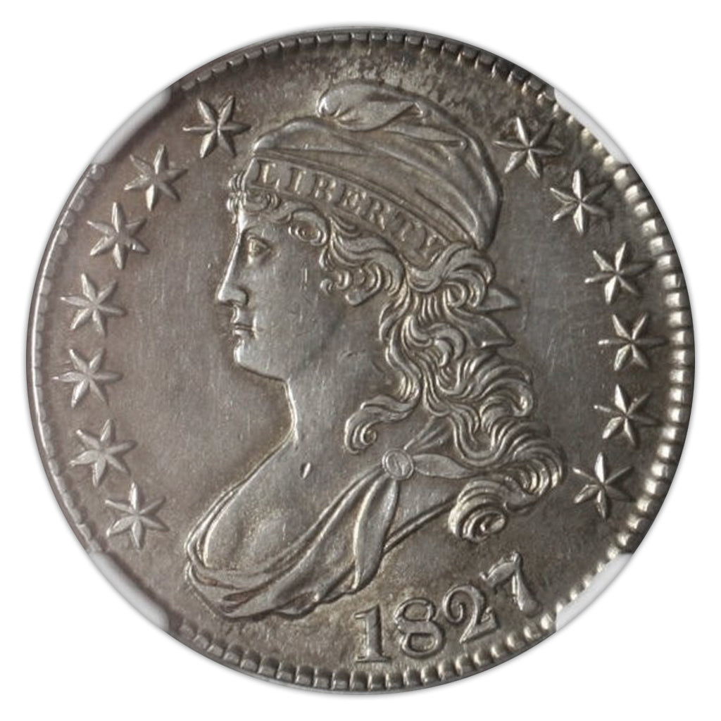 Silver 50C Half Dollar 1827/6 Capped Bust AU-58 NGC - Coin