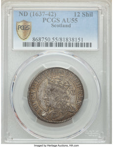 Scotland: Charles I 12 Shillings ND (1637-1642) AU55 PCGS