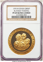 Spain: Juan Carlos I gold Proof 80000 Pesetas 1991-M PR69 Ultra Cameo NGC
