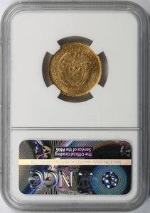 Colombia - Gold 5 Pesos 1925 Medellin MS-63 NGC - Coin