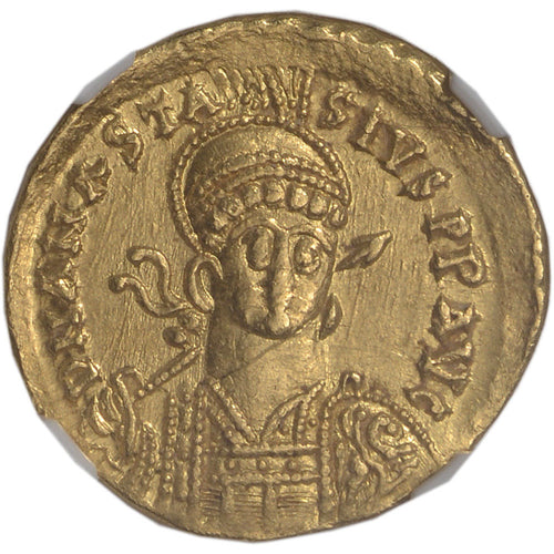 DEAL! AD 491-518 Byzantine Empire Anastasius I AV Solidus Ch AU NGC - Ancient Gold Coin