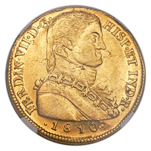 Gold 8 Escudos 8E 1810 So-FJ Chile Ferdinand VII AU-55 NGC - Coin