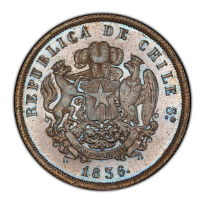 RARE! TONED! Chile - Copper 8 Escudos Pattern 1836-IJ MS-62 BN PCGS - Coin