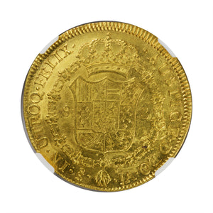 Chile - Gold 8 Escudos 1800-SO JA AU-53 NGC - Coin