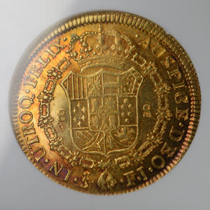 RAINBOW! Chile - Gold 8 Escudos 1812-SO FJ AU-55 NGC - Coin