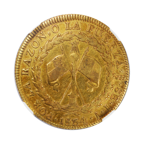 RARE! Chile - Gold 8 Escudos 1834-SO IJ XF-40 NGC - Coin