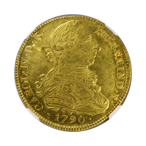 Colombia - Gold 8 Escudos 1790-P SF MS-61 NGC - Coin