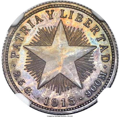 Cuba Republic Proof 10 Centavos 1915 PR-64 NGC - Proof Coin