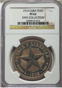 Cuba Republic Proof Star Peso 1915 PR-62 NGC - Proof Coin