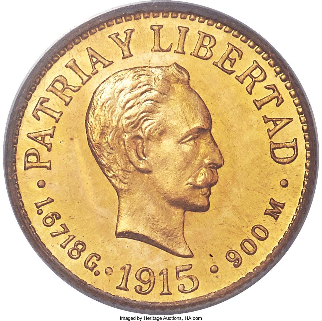 Cuba Republic Gold Proof Peso 1915 PR-64 PCGS - Proof Coin