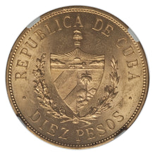 Gold 10 Pesos Cuba 1915 MS-62 NGC Ex EMO Collection - Coin