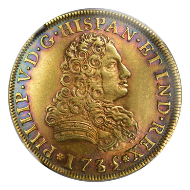 UNIQUE! FINEST KNOWN! RAINBOW! Mexico - Gold 8 Escudos 1835/4-MO MF AU-50 NGC - Rare! Over Date Coin