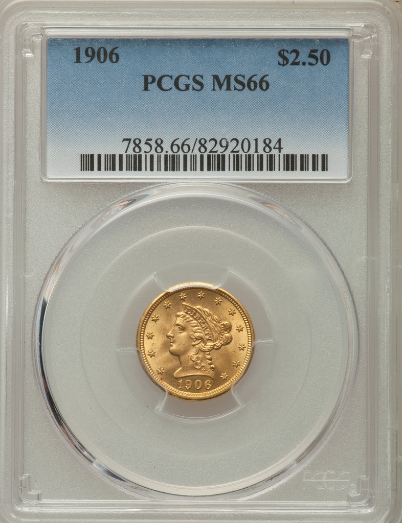 HIGH GRADE! Gold $2 50 United States 1906 MS-66 PCGS - Coin