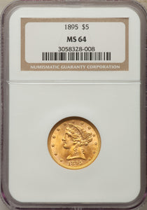 Gold $5 United States 1895 MS-64 NGC - Coin