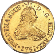 Gold 8 Escudos Chile 1751 Ferdinand VI SO-J AU-55 NGC - Coin