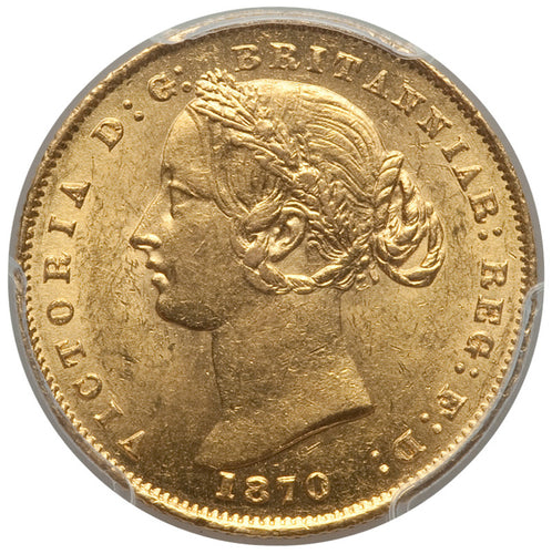 Gold Sovereign 1870-S Sydney Australia MS-61 PCGS - Coin