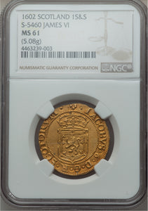RARE! Gold Sword and Scepter Scotland James VI 1602 MS-61 NGC - Coin