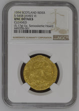 Scotland - James VI (I). 1594 AV Gold Rider - 100 Shillings - NGC UNC Details - Coin