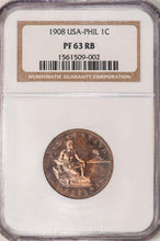 KEY DATE! Philippines Centavo 1C 1908 PF-63 RB NGC - Proof Coin