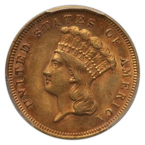 DEAL! RARE! Gold $3 United States 1878 AU-58 PCGS CAC Approved - Coin