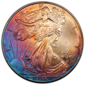 Rainbow! Key Date! 1996 Silver Eagle - MS-68 PCGS