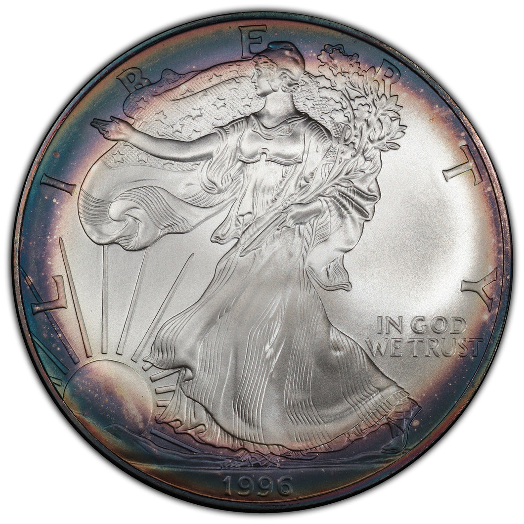 Rainbow! Key Date! 1996 Silver Eagle - MS-69 PCGS