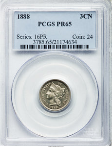 Three Cent Nickel 3CN 1888 Proof PR-65 PCGS - Coin