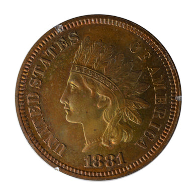 US - Indian Cent Penny 1881 PR-63-BN PCGS - Proof Coin