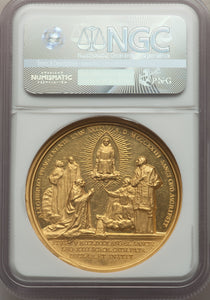 "VATICAN CITY - Pius XI gold ""Canonization of St. Thomas Aquinas"" Medal Anno II (1923) by Aurelio Mistruzzi MS62 NGC"