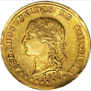 RARE! Colombia - Gold 20 Pesos 1873 Popayan Mint - MS-63 PCGS Gold Shield - Coin
