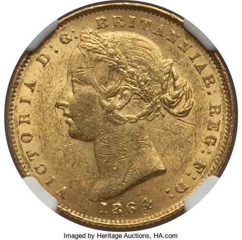 Australia - Victoria gold Sovereign 1864-SYDNEY MS61 NGC